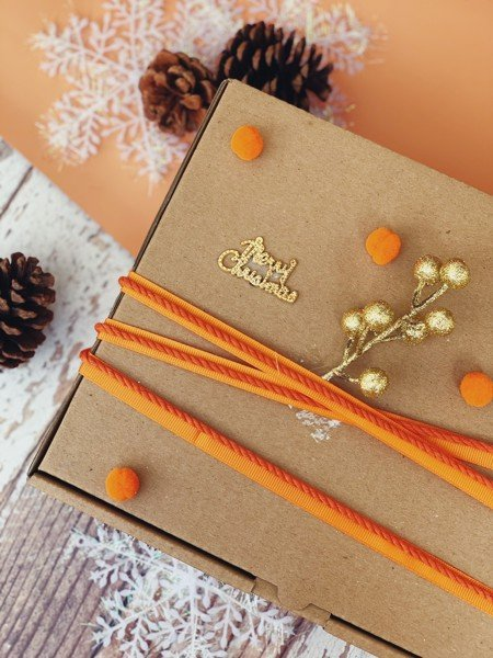 Orange Pom Pom Gift Box