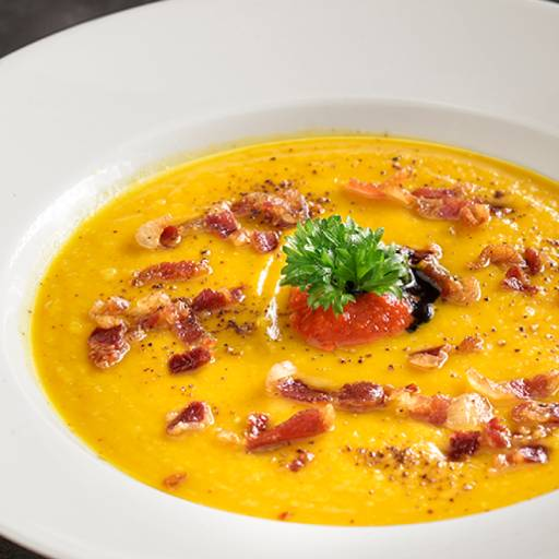 Pumpkin Soup With Roasted Bacon