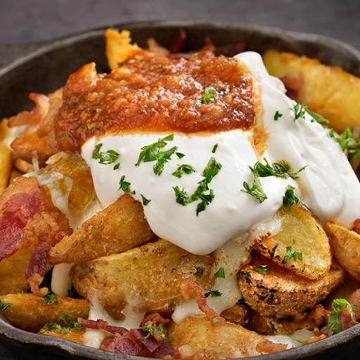 Spice Fried Potato With Sour Cream And Jalapenno