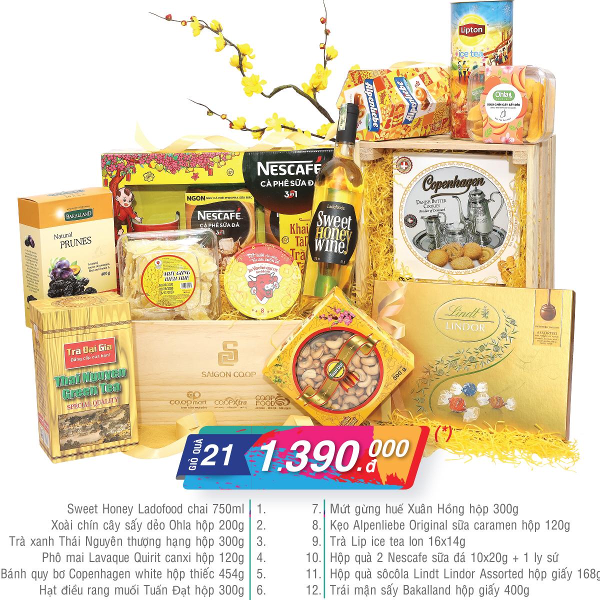 Giỏ quà Tết Co.opmart vạn phúc vàng