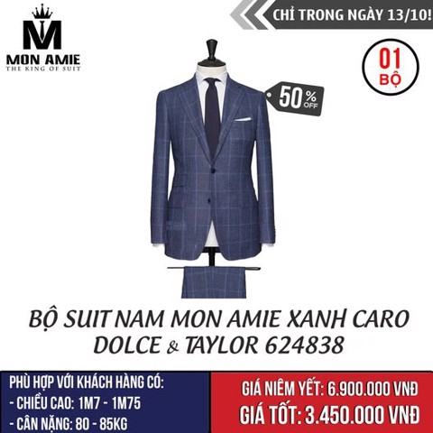 [NGÀY 13.10] Bộ Suit Nam Mon Amie Đen Xanh Caro Dolce & Taylor 624838