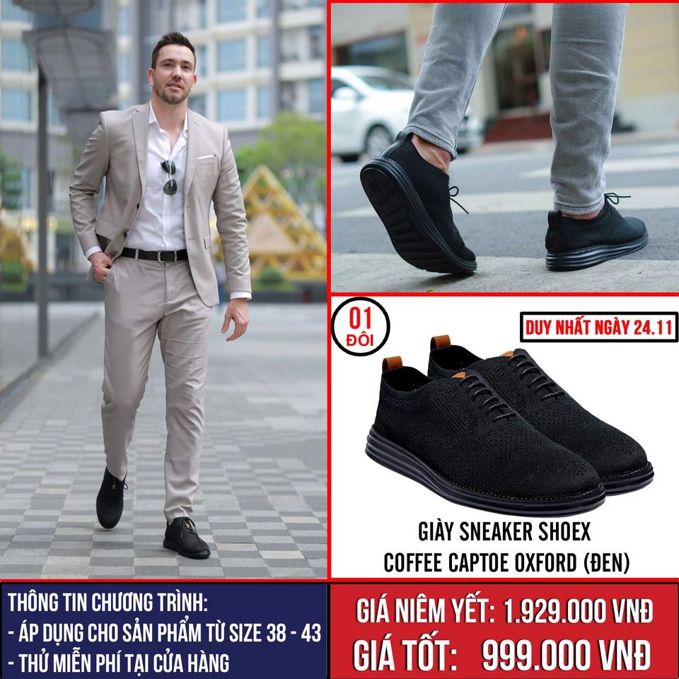 [Ngày 24.11] Giày Sneaker ShoeX Coffee Captoe Oxford (Đen) - All Size