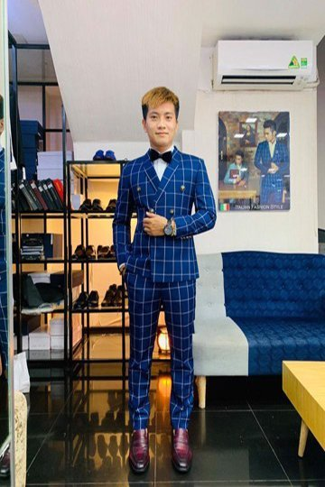 Suit Double Breasted caro Xanh vân trắng 635092