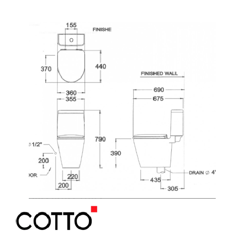 Bồn Cầu COTTO C17027 Hai Khối Space Solution