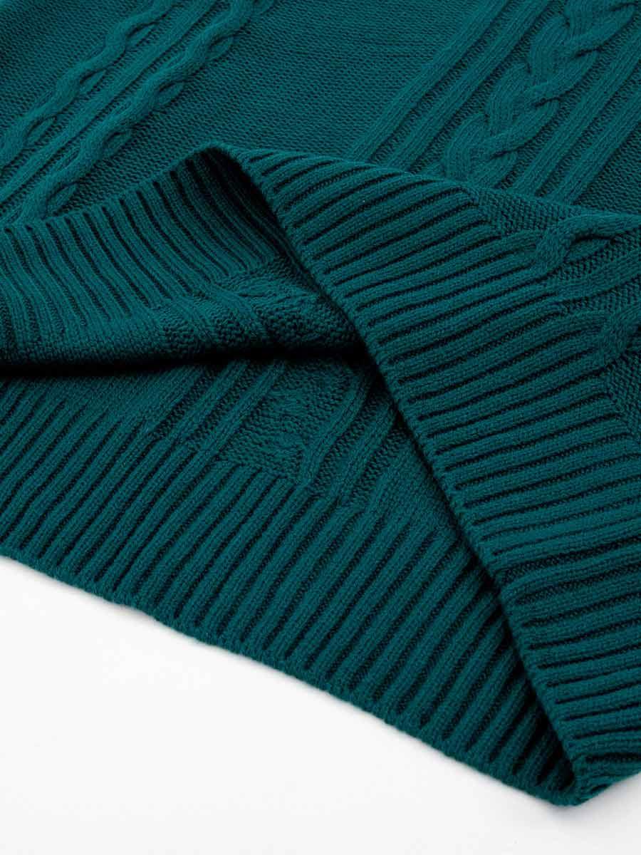 Áo len nữ cổ V, phối màu cổ 3023014009933