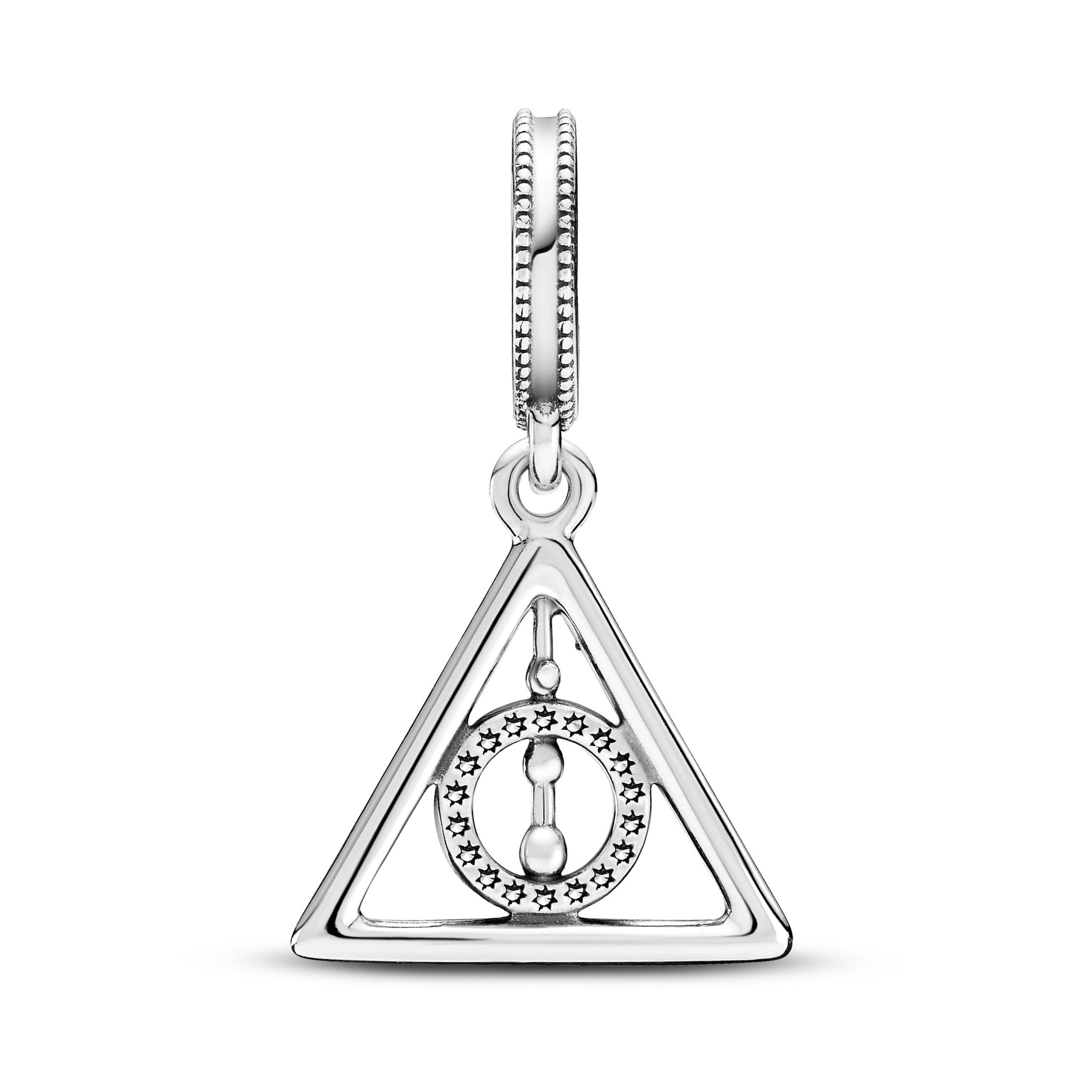 Harry Potter Deathly Hallows sterling silver dangle with clear cubic zirconia