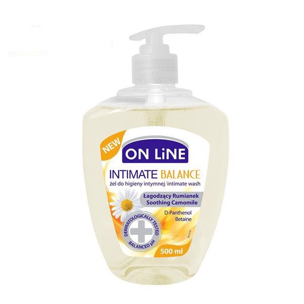 Nước VS Phụ nữ - On line BALANCE (Vàng)-500ml ON LINE INTIMATE SENSITIVE WASH  SOOTHING CAMOMILE