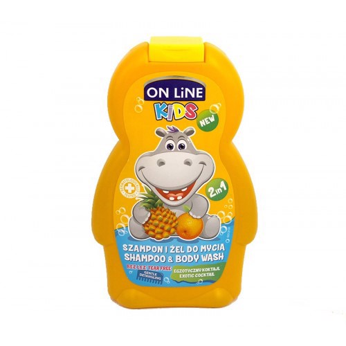 Sữa tắm và gội trẻ em On lineKids Coktail 250ml - Vàng ON LINE KIDS SHAMPOO & BODY WASH 2 IN 1 EXOTIC COCKTAIL