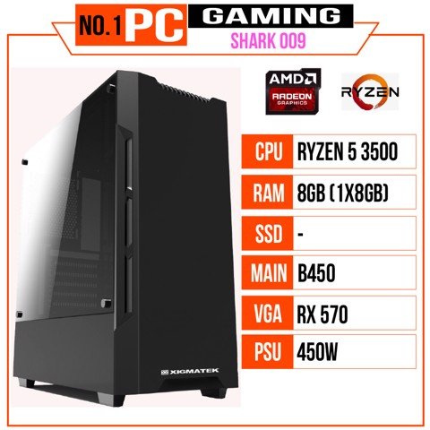 PC GAMING SHARK 009 (R5 3500/B450/8GB RAM/RX570/450W/RGB)