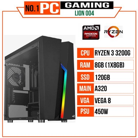 PC GAMING LION 004 (R3 3200G/A320/8GB RAM/120GB SSD/450W)