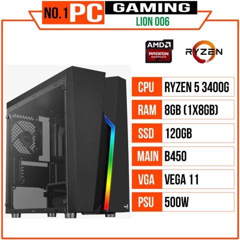 PC GAMING LION 006 (R5 3400G/B450/8GB RAM/120GB SSD/500W)
