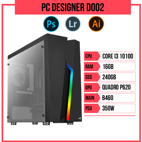 PC Designer D002 (i3-10100/B460/16GB RAM/Quadro P620/240GB SSD/350w)