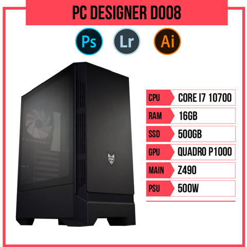 PC Designer D008 (i7-10700/B460/16GB RAM/Quadro P1000/500GB SSD/500w)