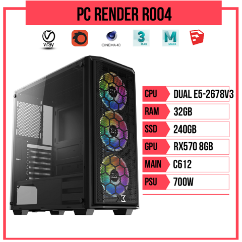 PC Render R004 (Dual E5-2678v3/C612/32GB RAM/240GB SSD/RX570 8GB/700W)