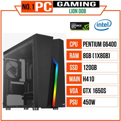 PC GAMING LION 008 (G6400/H410/8GB RAM/120GB SSD/GTX 1650 Super/450W/RGB)