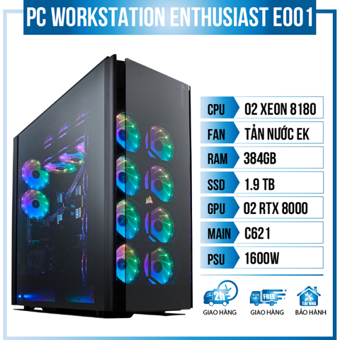 PC Workstation Enthusiast E001 (Dual Xeon 8180/C621/384GB RAM/1.9TB SSD/2xRTX8000/EK Water Cooling/1600W)