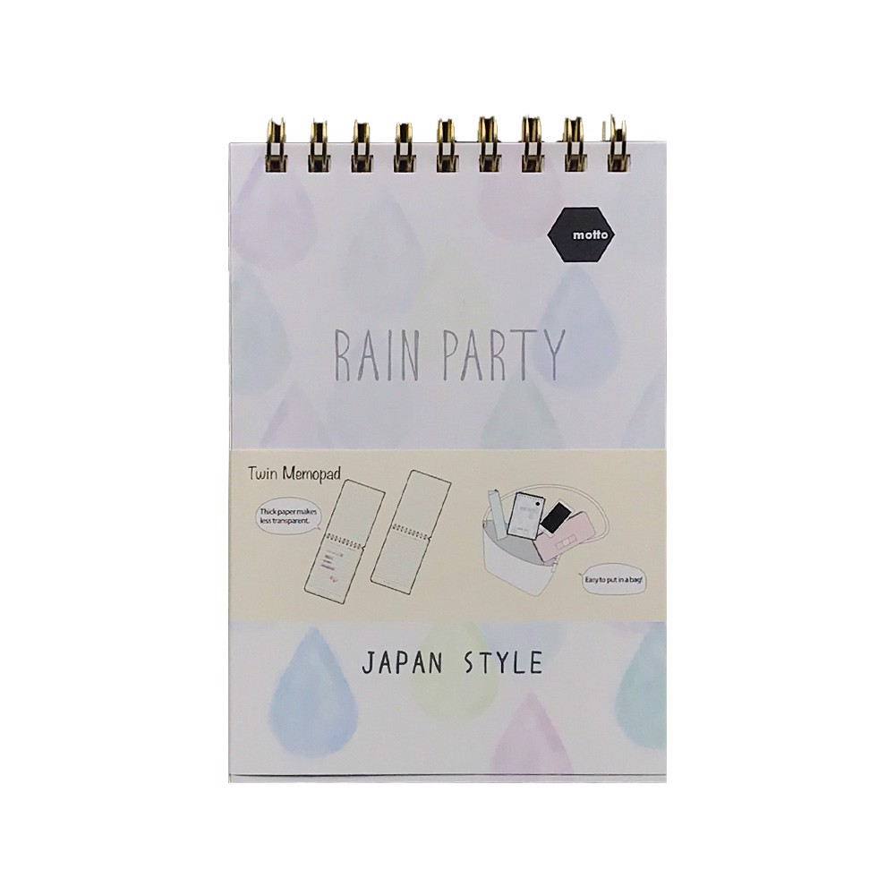 Sổ LX Twin Memopad RAIN PARTY Motto A6