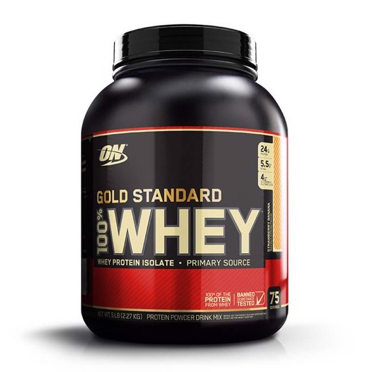 Optimum Nutrition Gold Standard 100% Whey Protein Powder, Strawberry Banana, 24g Protein, 5 Lb