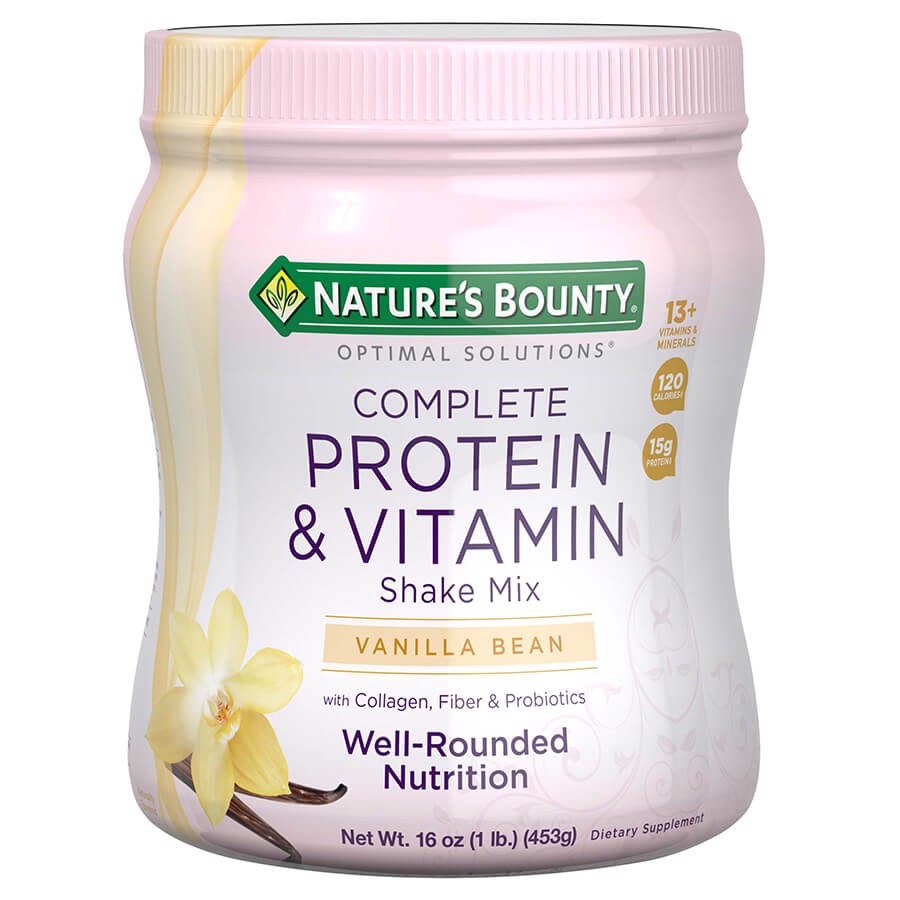 Natures Bounty Optimal Solutions Protein Shake Vanilla, 16 Ounce Jar, Protein and Vitamin Shake for Women