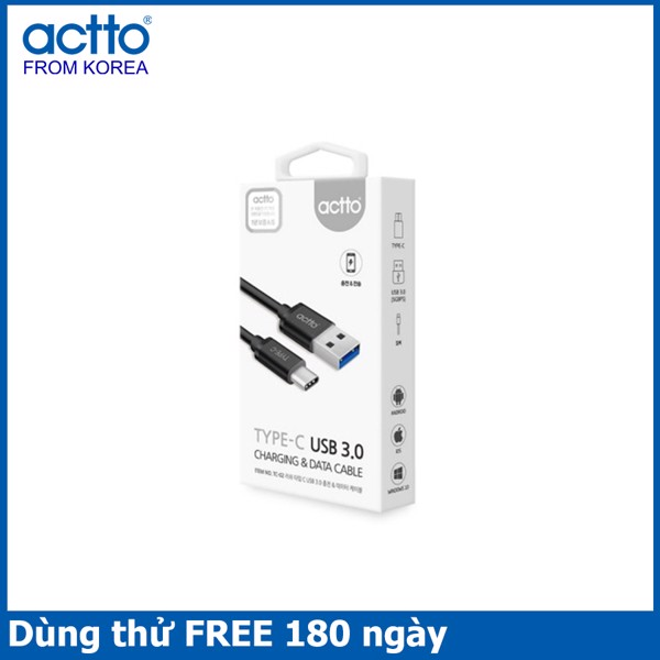 Cáp sạc type C dài 1m Lush Type C USB 3.0 Charging & Data Cable - Actto TC-02