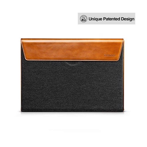 Túi Chống Sốc Tomtoc (USA) Premium Leather For Macbook Pro 13″ New/Air 13'' 2018 Gray