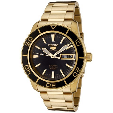5 Automatic Black Dial Gold-tone Men's Watch SNZH60