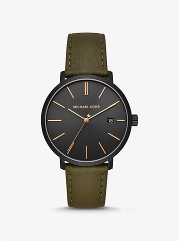 Blake Black-Tone and Leather Watch MK8676