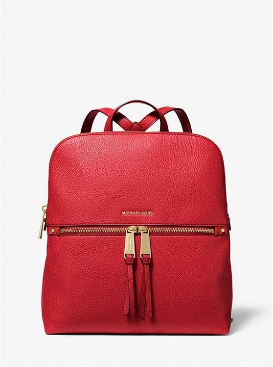 Rhea Medium Pebbled Slim Backpack 30F0GEZB6V