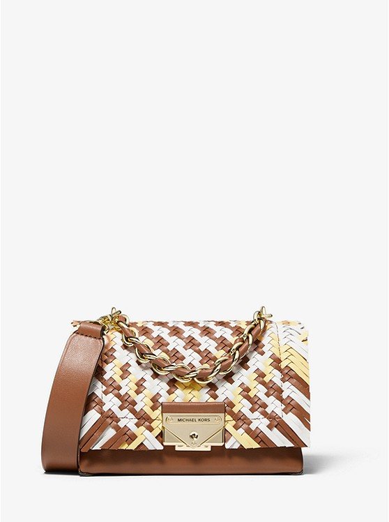 Cece Extra-Small Color-Block Woven Leather Crossbody Bag 32T0G0EC0T