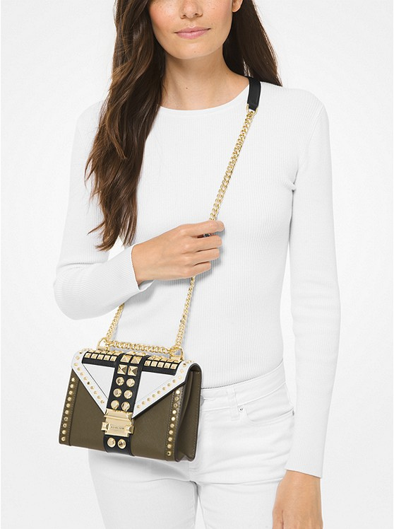 Whitney Small Studded Tri-Color Saffiano Leather Shoulder Bag 30F9GWHL1T