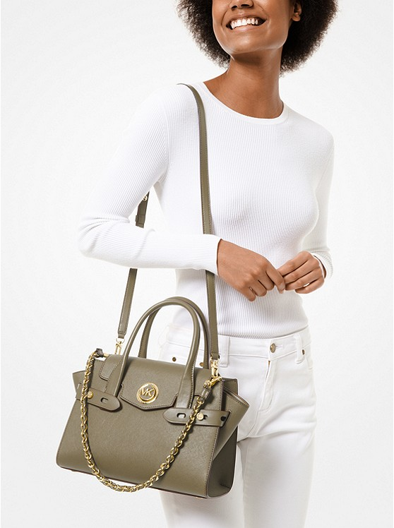 Carmen Small Saffiano Leather Belted Satchel 30S0GNMS1L