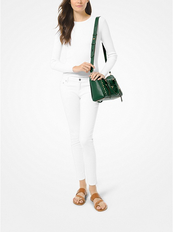 Carine Small Studded Pebbled Leather Satchel 30S0GCCS1T