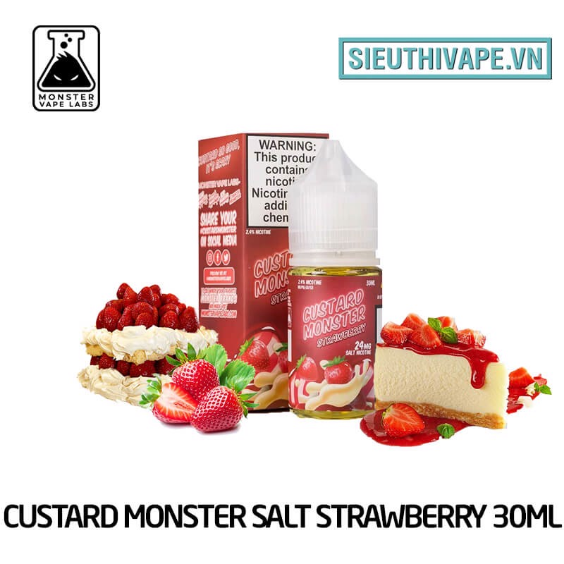 Custard Monster Salt Strawberry 30ml - Tinh Dầu Salt Nic Mỹ
