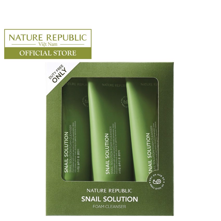 Set 3 tuýp sữa rửa mặt SNAIL SOLUTION FOAM CLEANSER TRIO SET