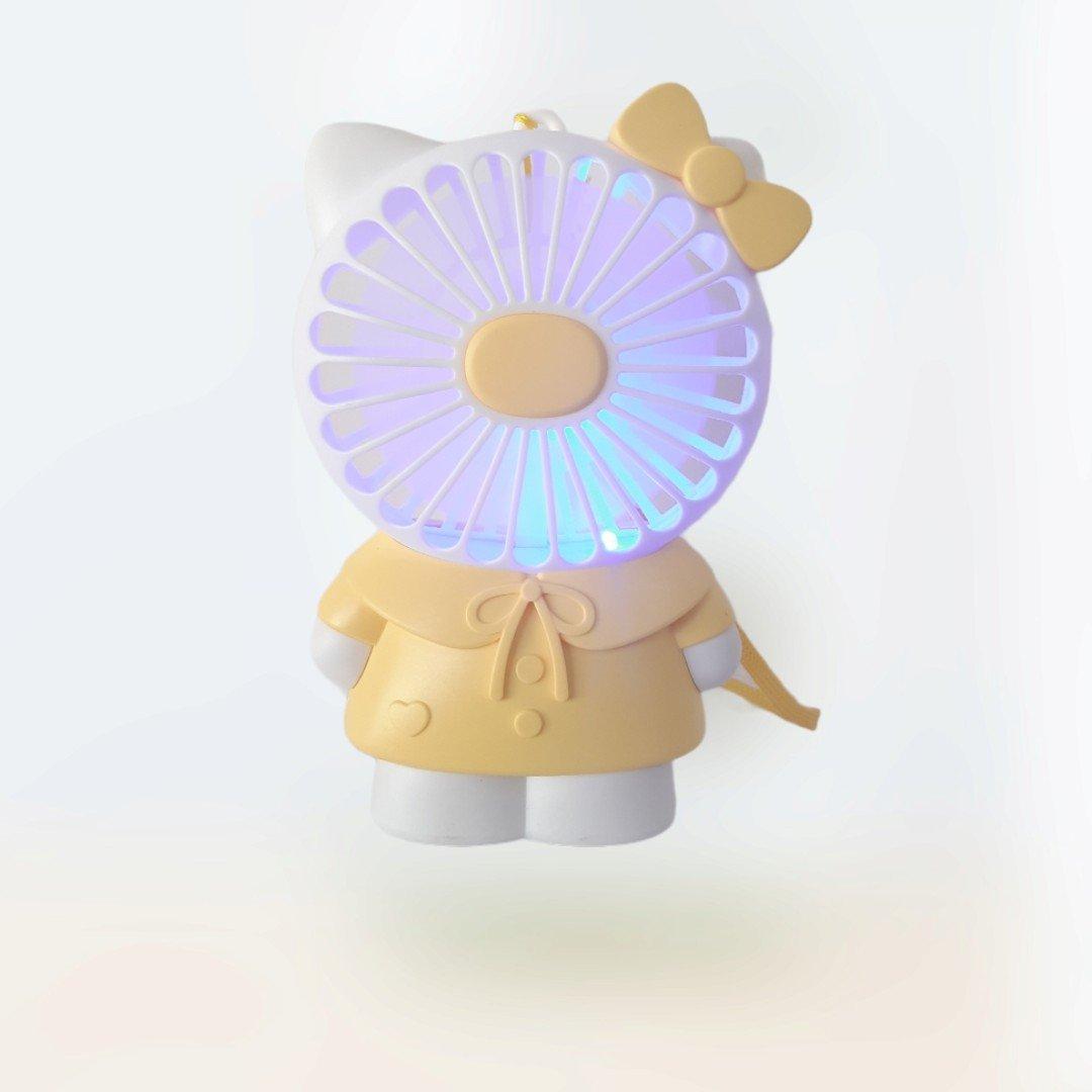 Hộp Quạt Bàn Pin Mèo Kitty + Sạc Usb + Dây Cute Fan