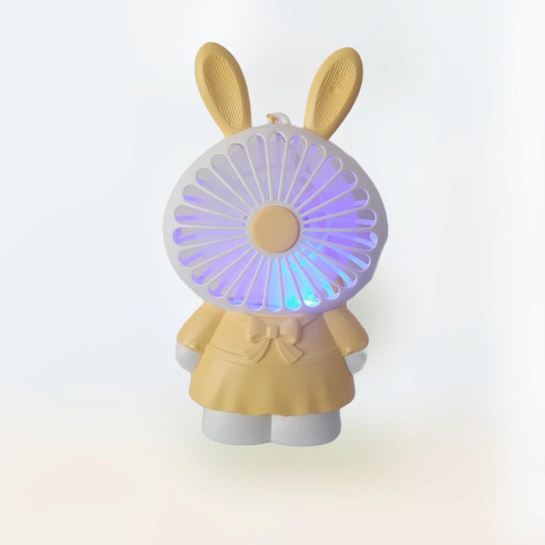 Hộp Quạt Bàn Pin Thỏ + Sạc Usb + Dây Cute Fan