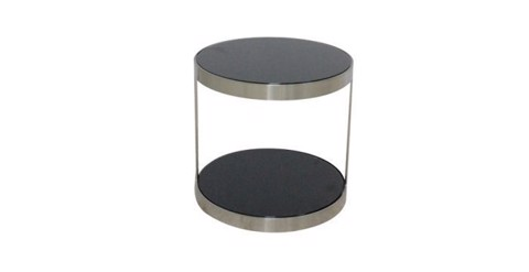 Bàn góc - END TABLE JAN-D40#CJ830C/CHROMIUM/BL GLASS