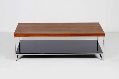 Bàn cà phê - COFFEE TABLE SAINT/ BLACK GLASS/ TOP-I WALNUT/ 19090044