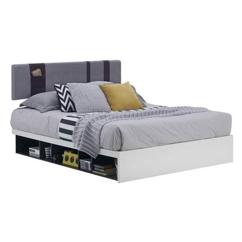 Giường - LEPINO BED BF5'/ K/ WHITE/ DARK GRAY/ CUSTION GRAY/ 19090818