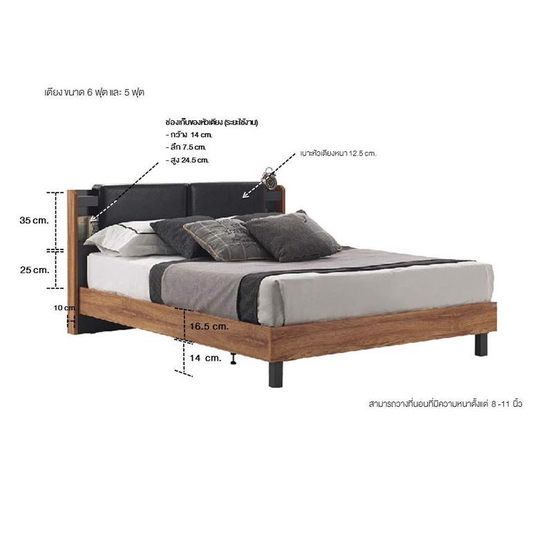 Giường - RALPHS BED BW5'/F/AUTUMN/DARK GRAY/LEATHER BLACK