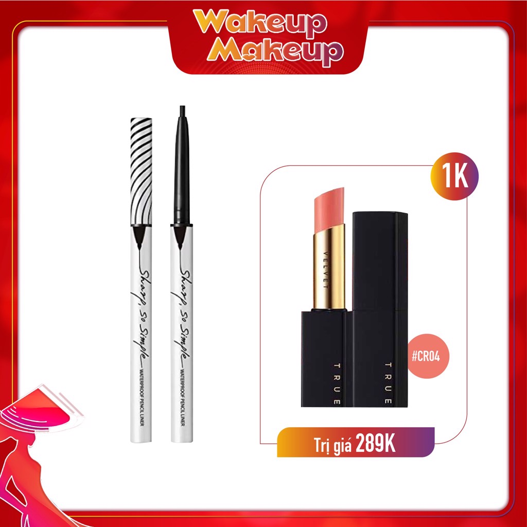 Combo Son Thỏi Lì & Chì kẻ viền mắt CLIO SHARP, SO SIMPLE WATERPROOF PENCIL LINER 01 BLACK
