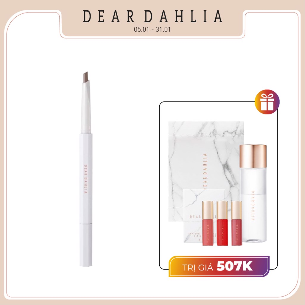 Combo Tẩy Trang & Chì Vẽ Chân Mày DEAR DAHLIA PERFECT BROW LONGWEAR SCULPTING PENCIL (ASH BROWN)