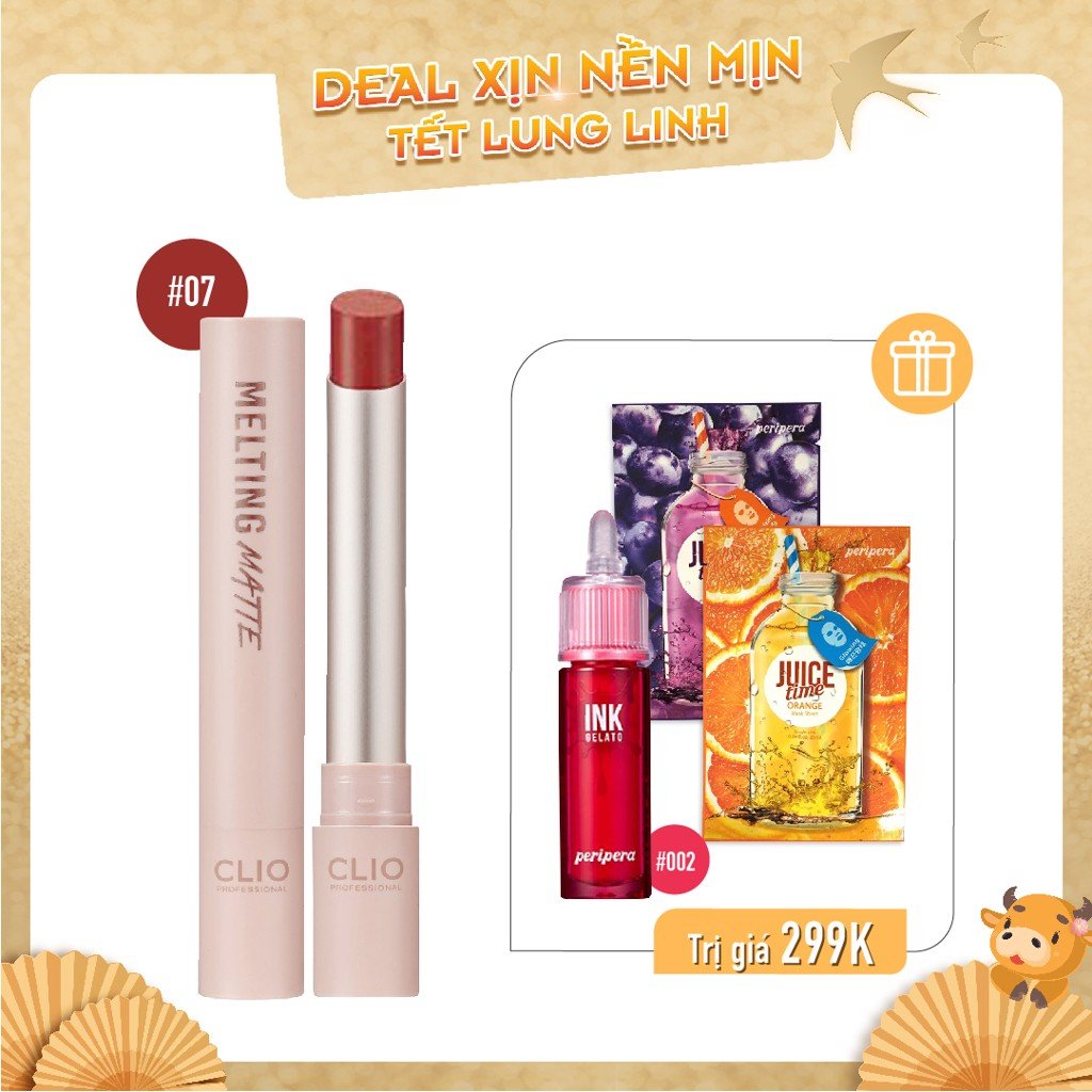 Combo Son Nước & Son Thỏi Lì CLIO MELTING MATTE LIPS 07 WITH MAPLE (4pc)