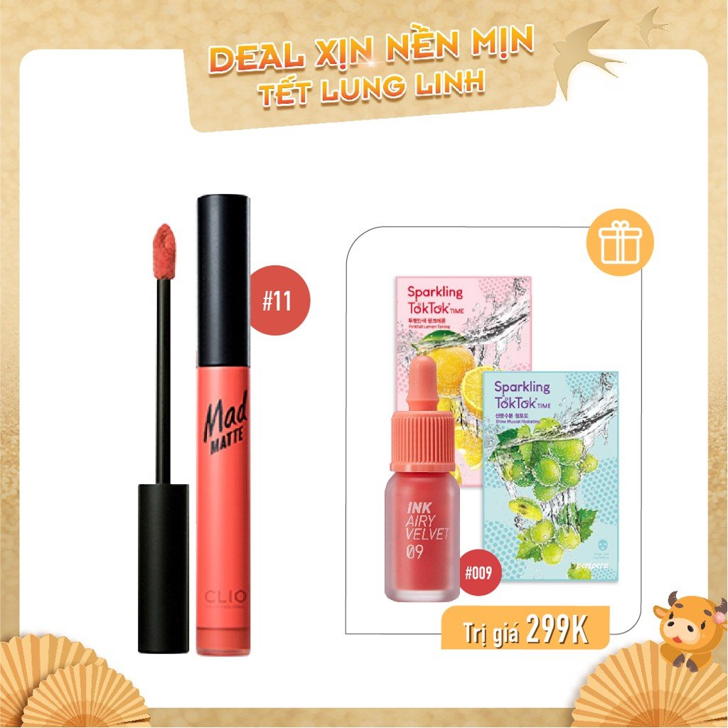 Combo Son Kem Lì CLIO MAD MATTE LIQUID LIP 11 CORALLOID (4pc)