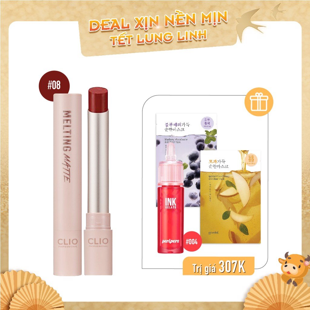 Combo Son Nước & Son Thỏi Lì CLIO MELTING MATTE LIPS 08 BERRY PLEASURE (4pc)
