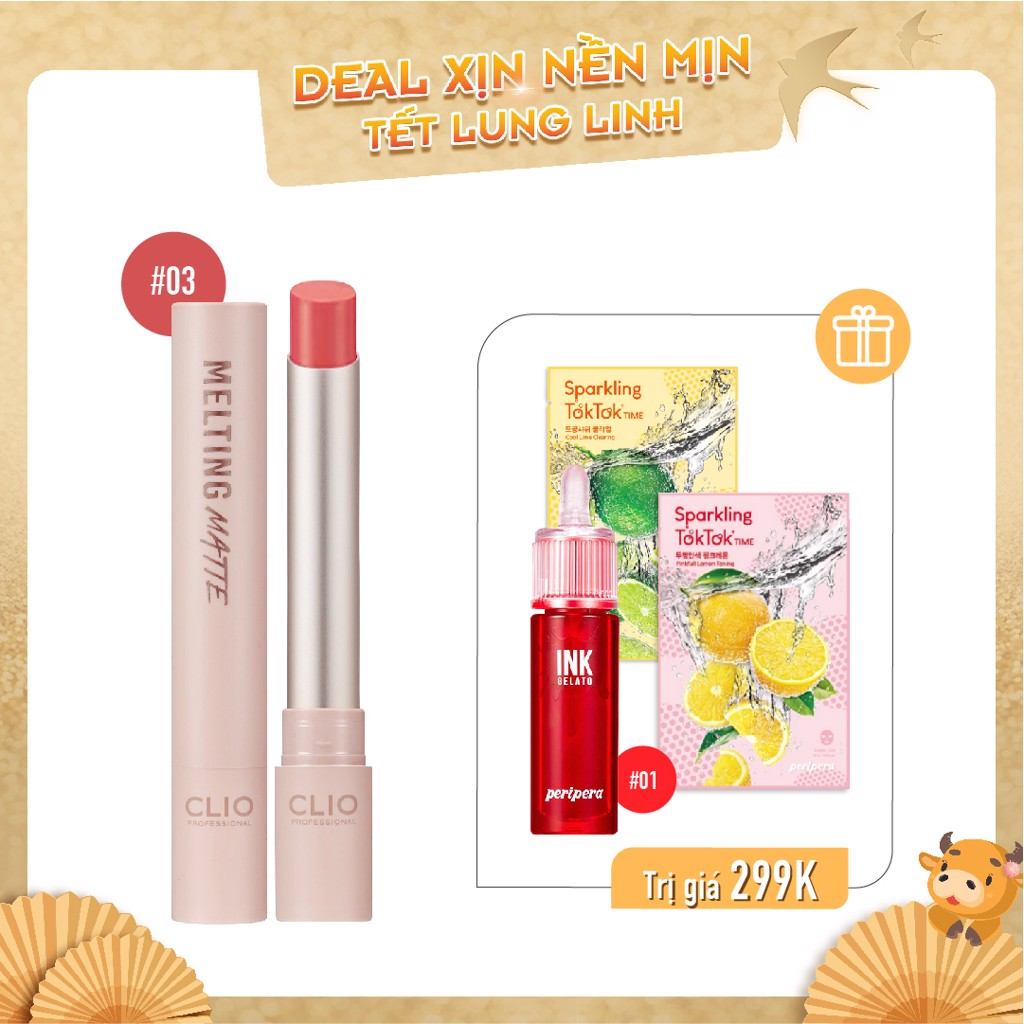 Son Nước & Son Thỏi Lì CLIO MELTING MATTE LIPS 04 KIND A ROSE