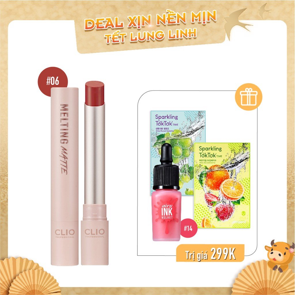 Combo Son Kem & Son Thỏi Lì CLIO MELTING MATTE LIPS 06 IN TO BRICK