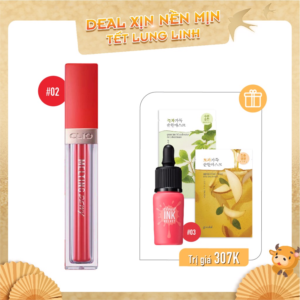 Combo Son Tint Bóng CLIO MELTING DEWY TINT 02 FLASH MOMENT (4pc)