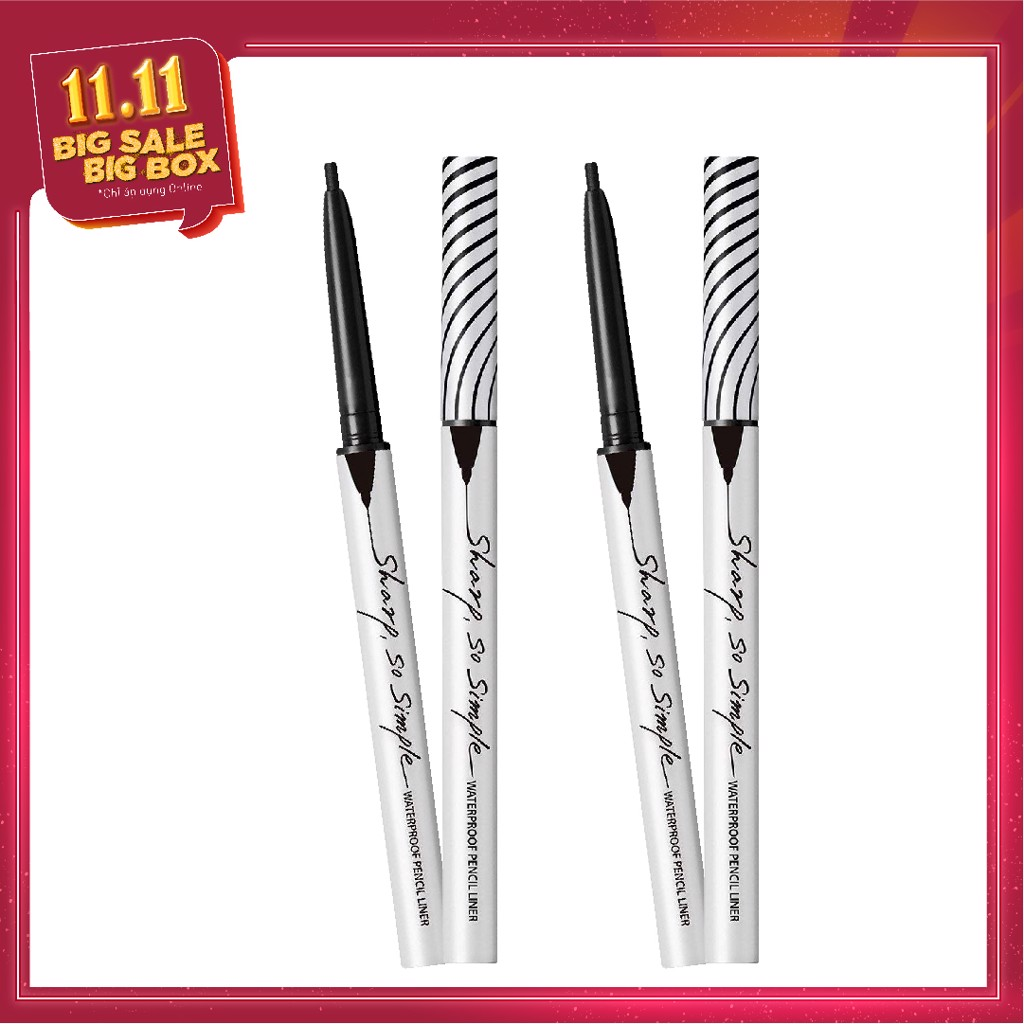 COMBO 02 Chì kẻ viền mắt CLIO SHARP, SO SIMPLE WATERPROOF PENCIL LINER - 01 BLACK