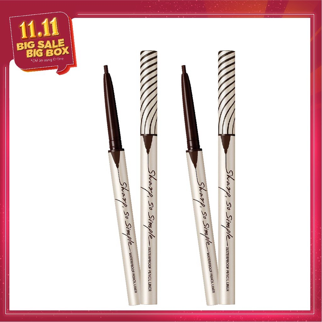 COMBO 02 Chì kẻ viền mắt CLIO SHARP, SO SIMPLE WATERPROOF PENCIL LINER - 02 BROWN